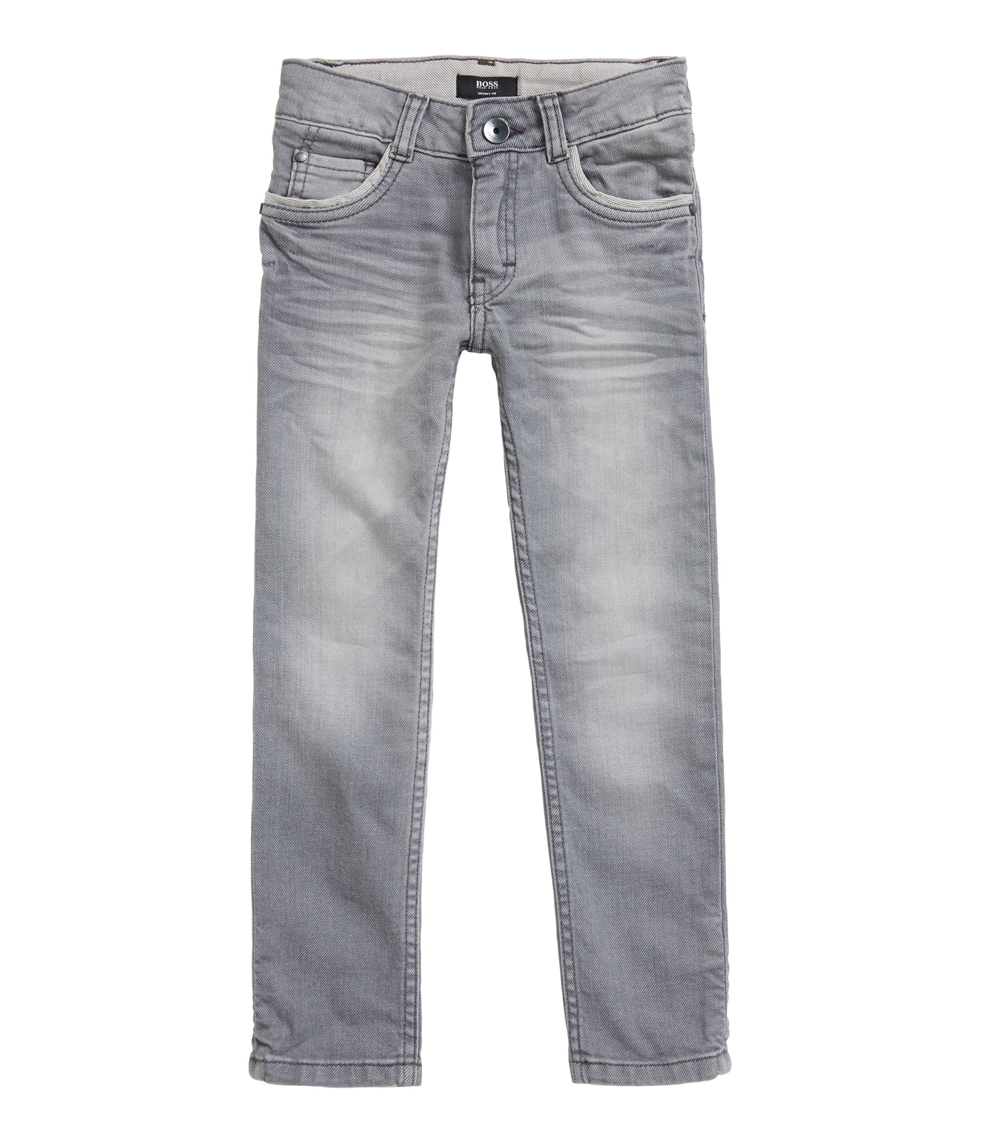 Kinderjeans van stretchdenim met washed finish, Bedrukt