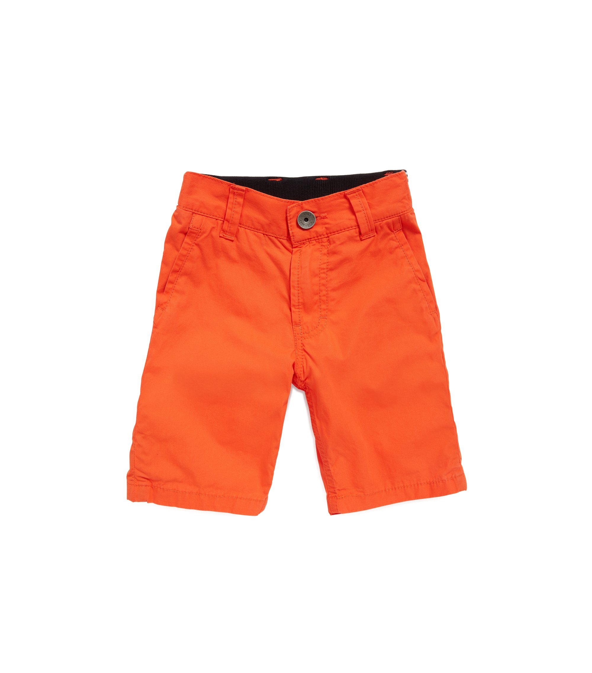 Kids' cotton shorts with striped back waistband, Orange