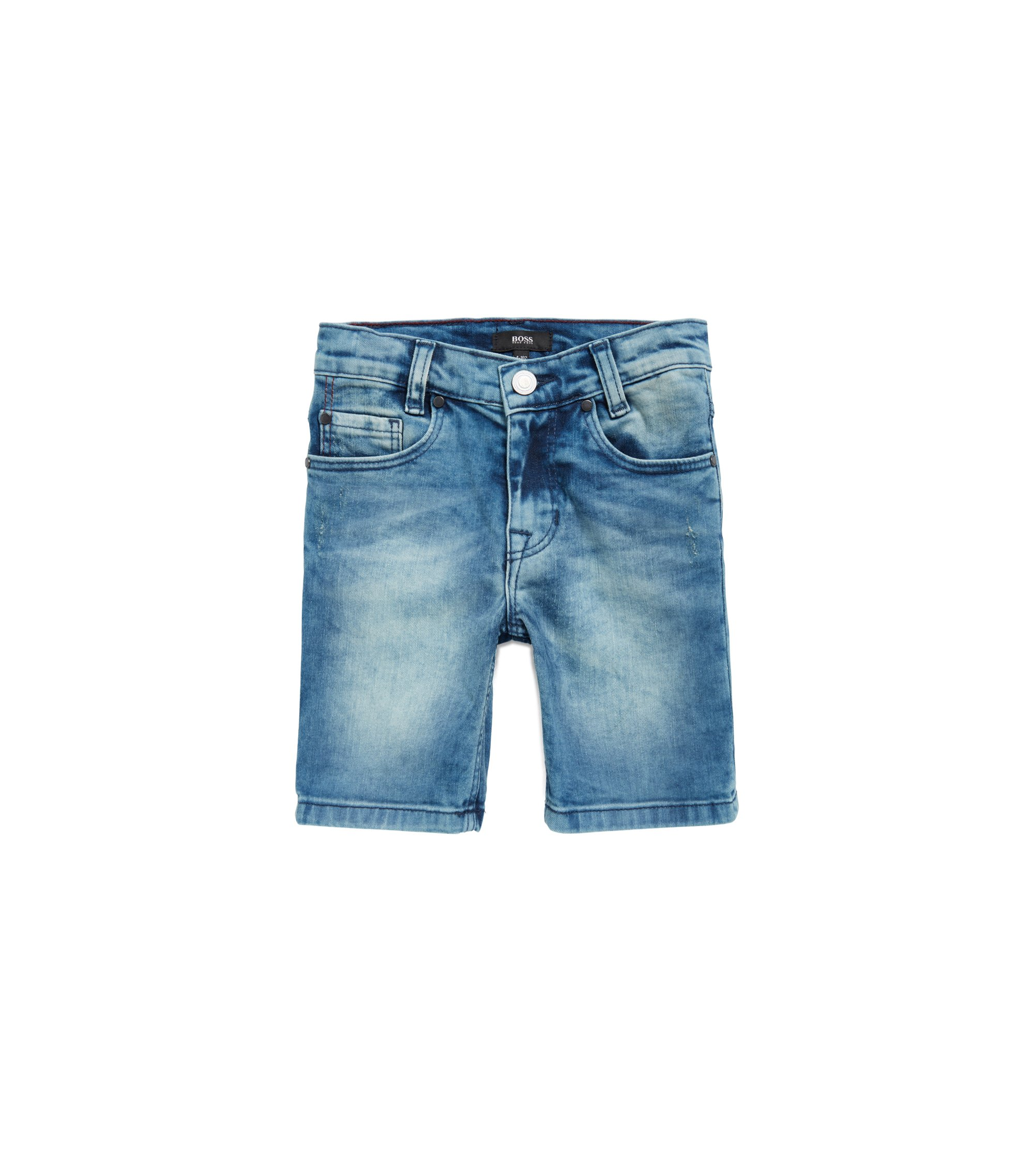 Kids' Bermuda shorts in stretch denim, Patterned
