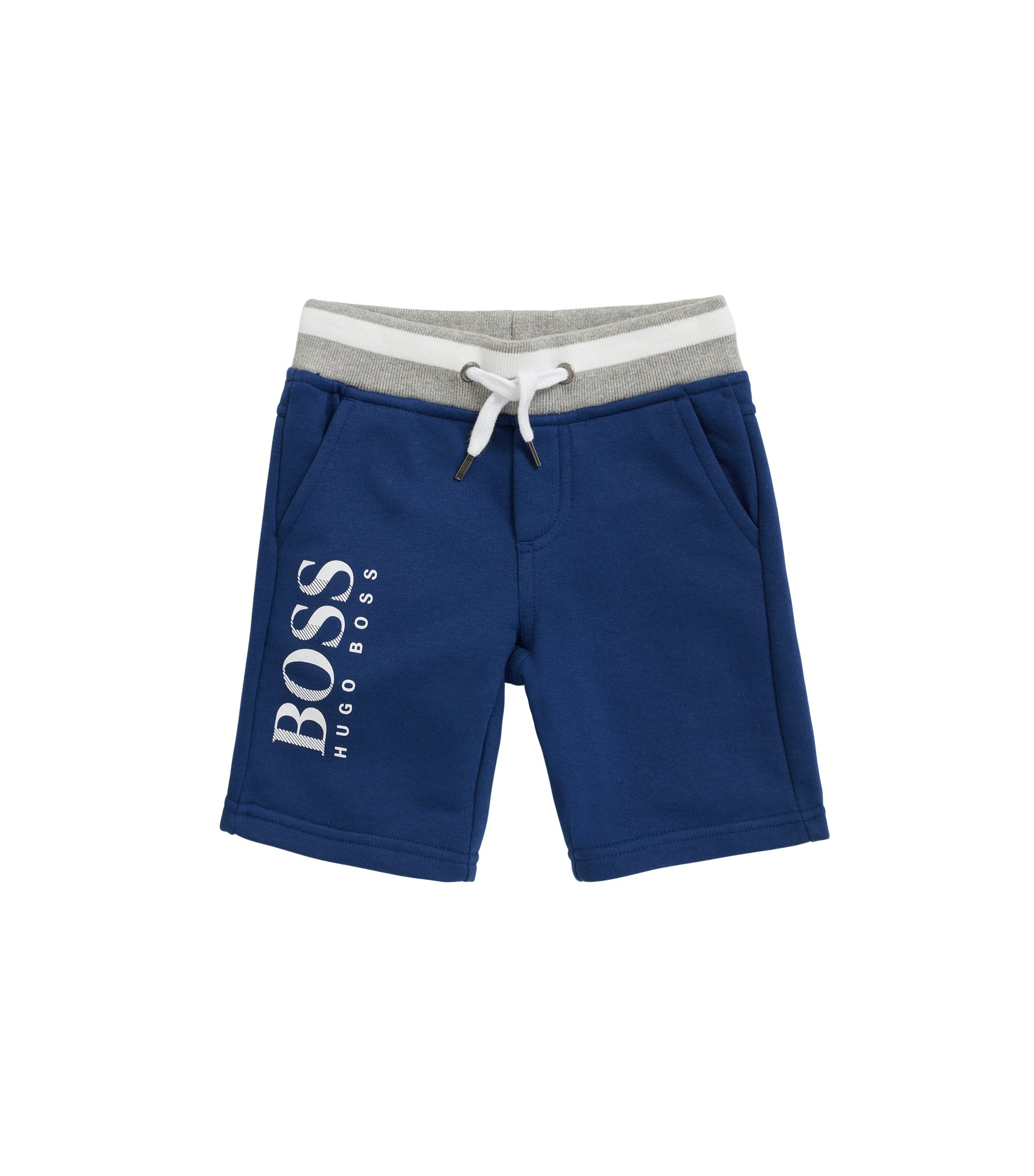Kids' Bermuda shorts in French terry with logo print, Dark Blue