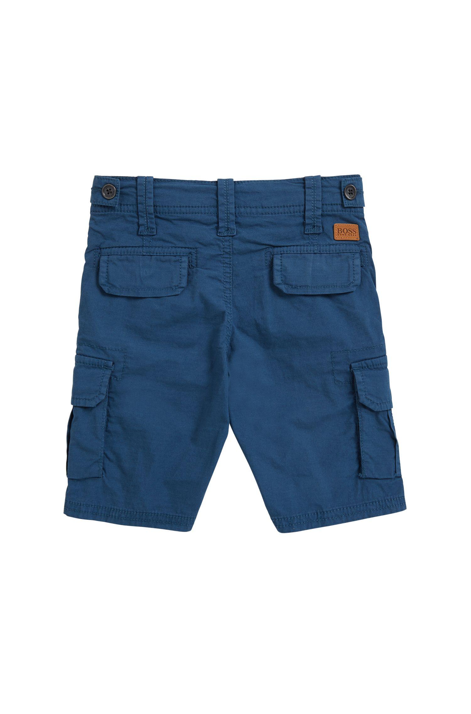 Bermuda pour enfant en coton avec finitions en chambray, Orange clair