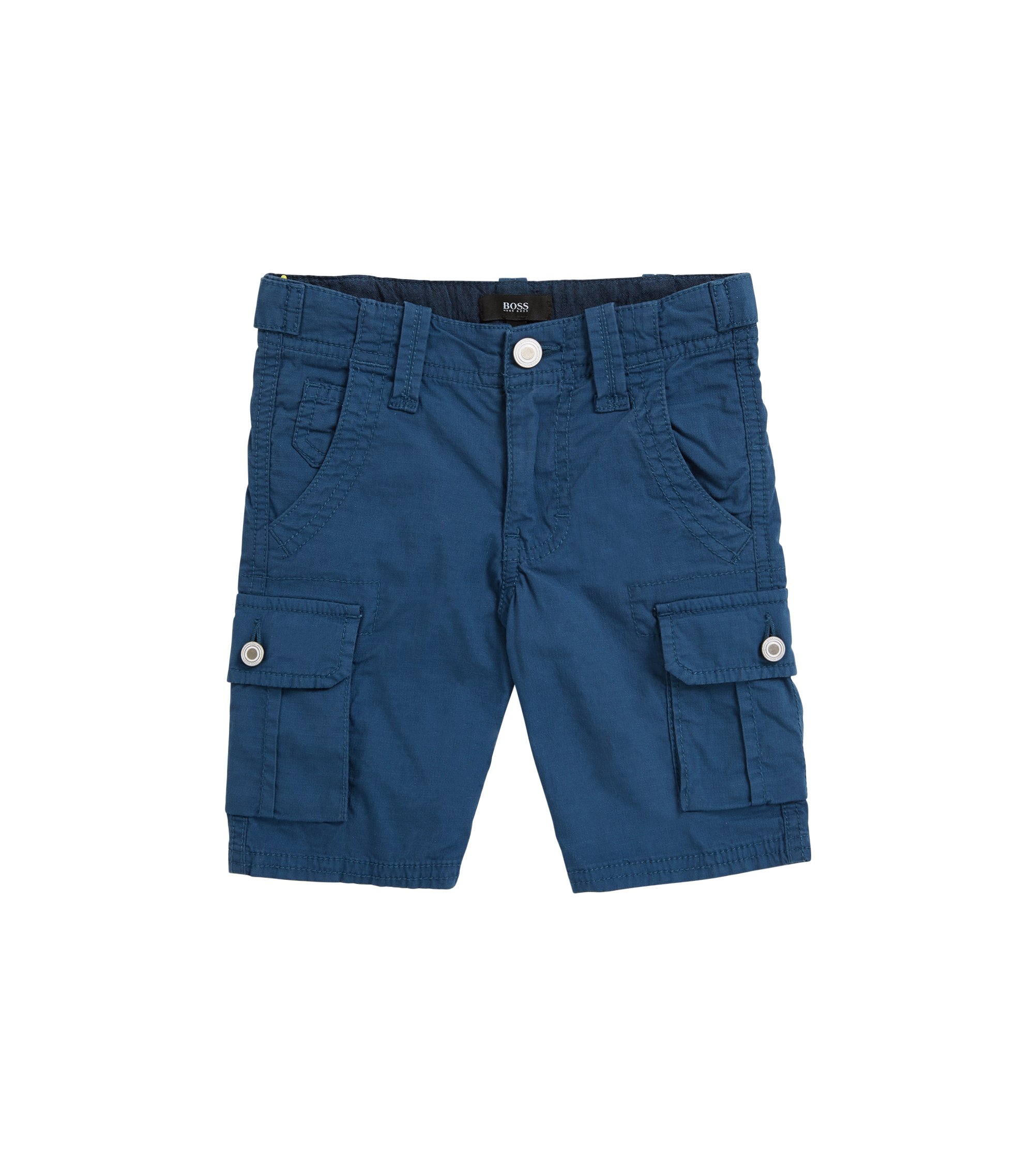 Kids' cotton Bermuda shorts with chambray trims, Open Orange
