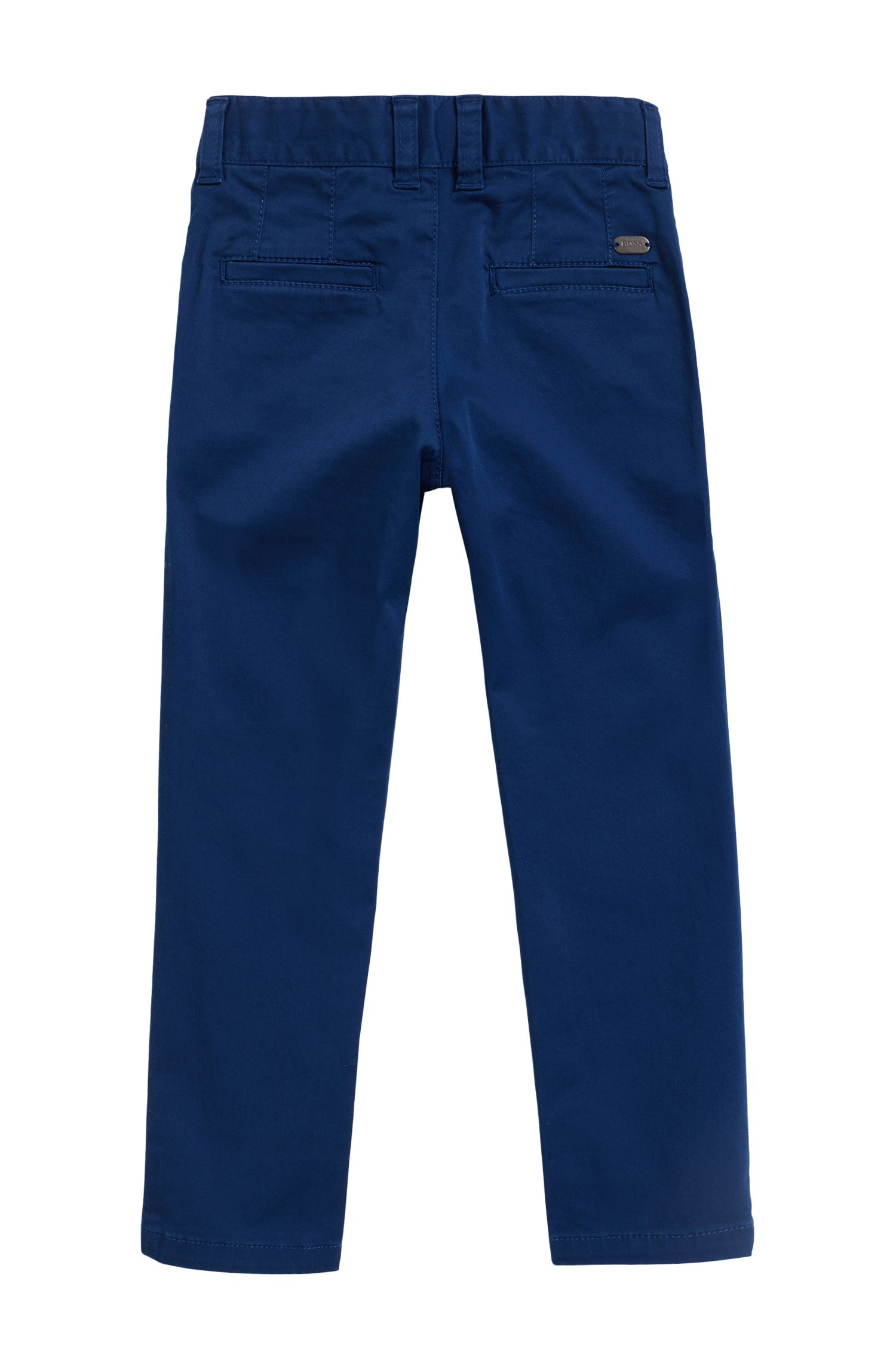 Kinderpantalon van katoensatijn met stretch, Donkerblauw