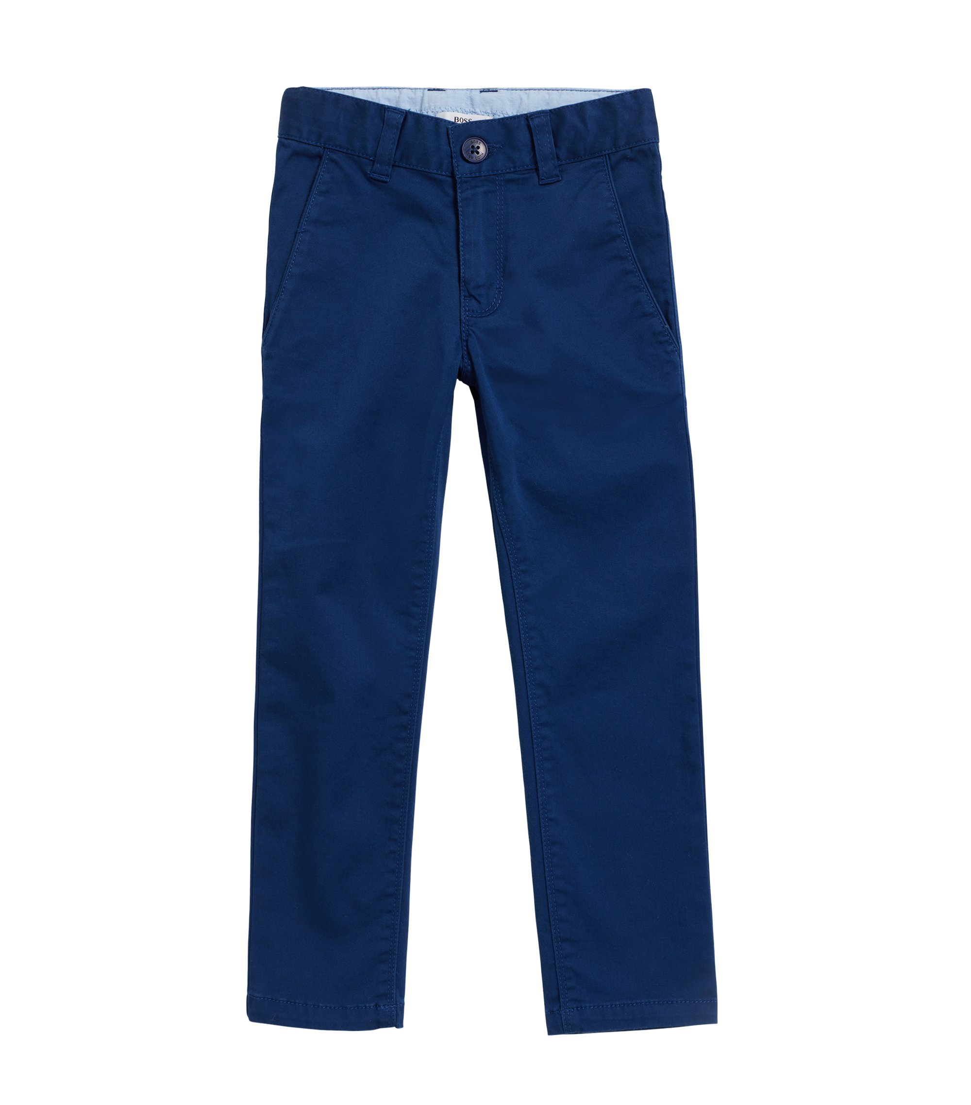 Kids' suit trousers in stretch satin cotton, Dark Blue