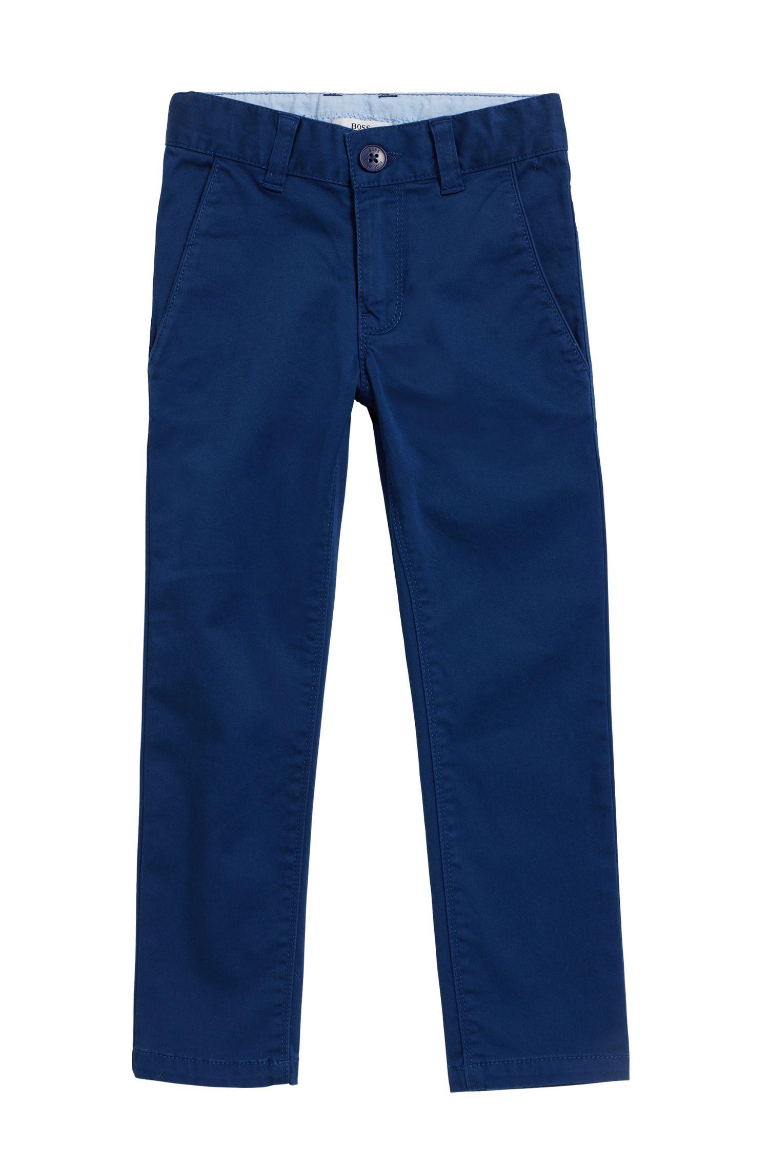 Pantalones de traje para niños en algodón satinado elástico, Azul oscuro