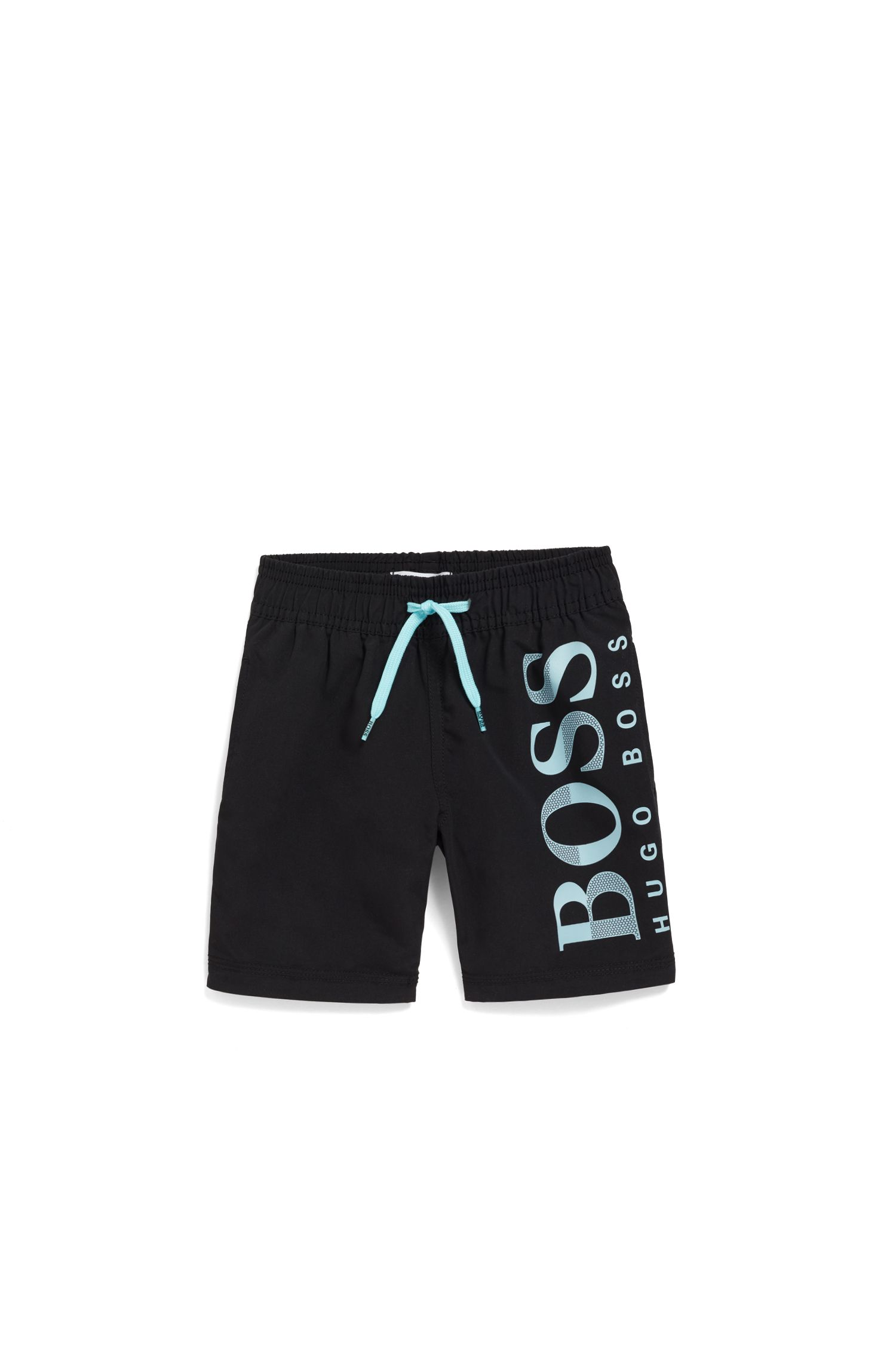 Kids' logo swim shorts in quick-drying technical fabric, Black