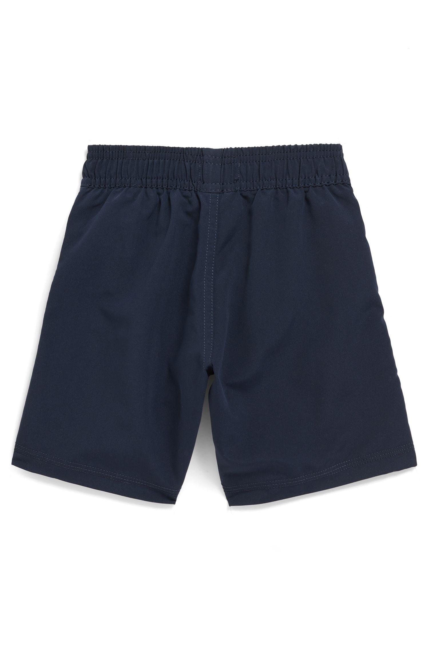 Kids' logo swim shorts in quick-drying technical fabric, Dark Blue