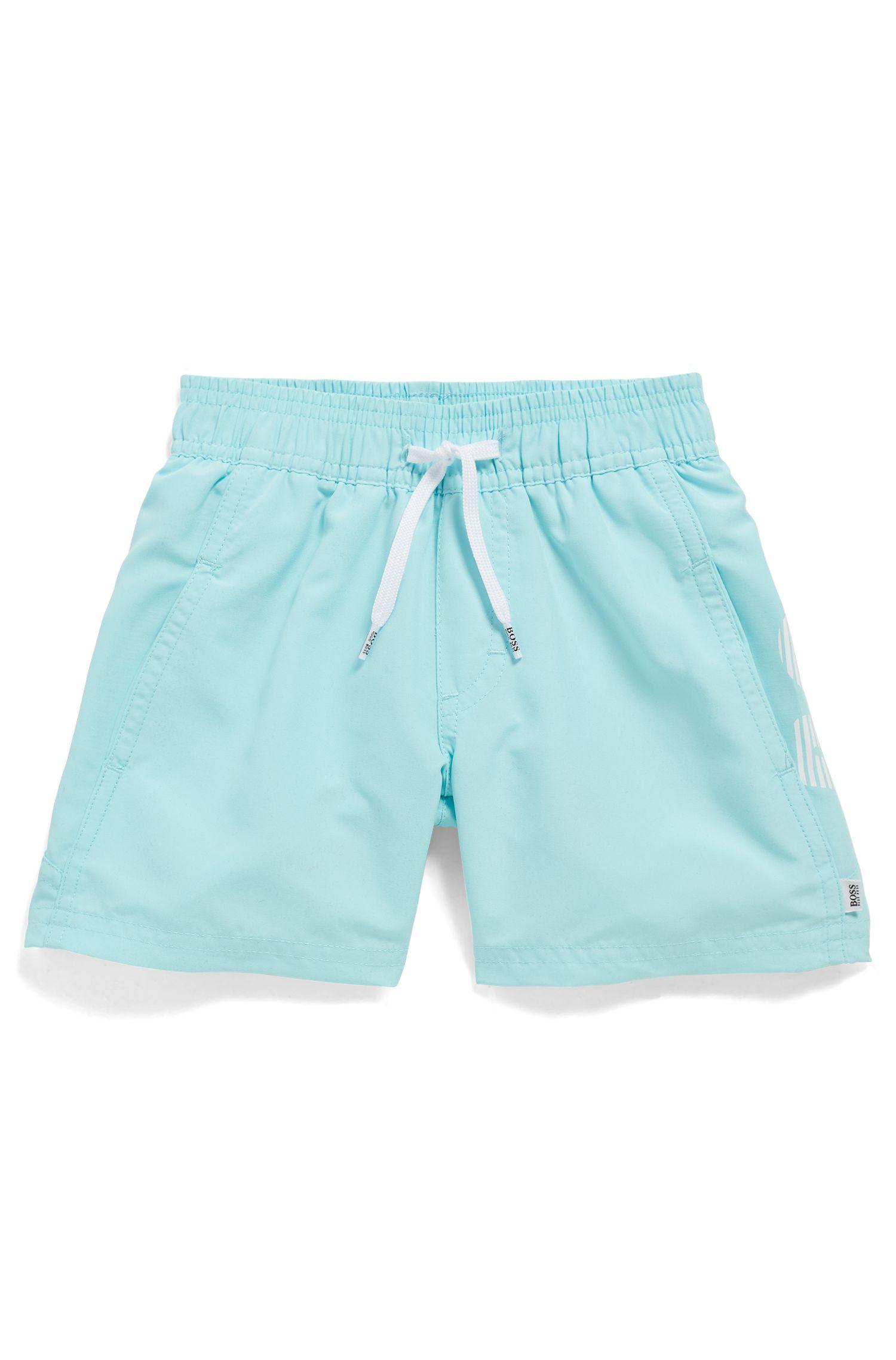 Kids' logo swim shorts in quick-dry fabric, Light Blue