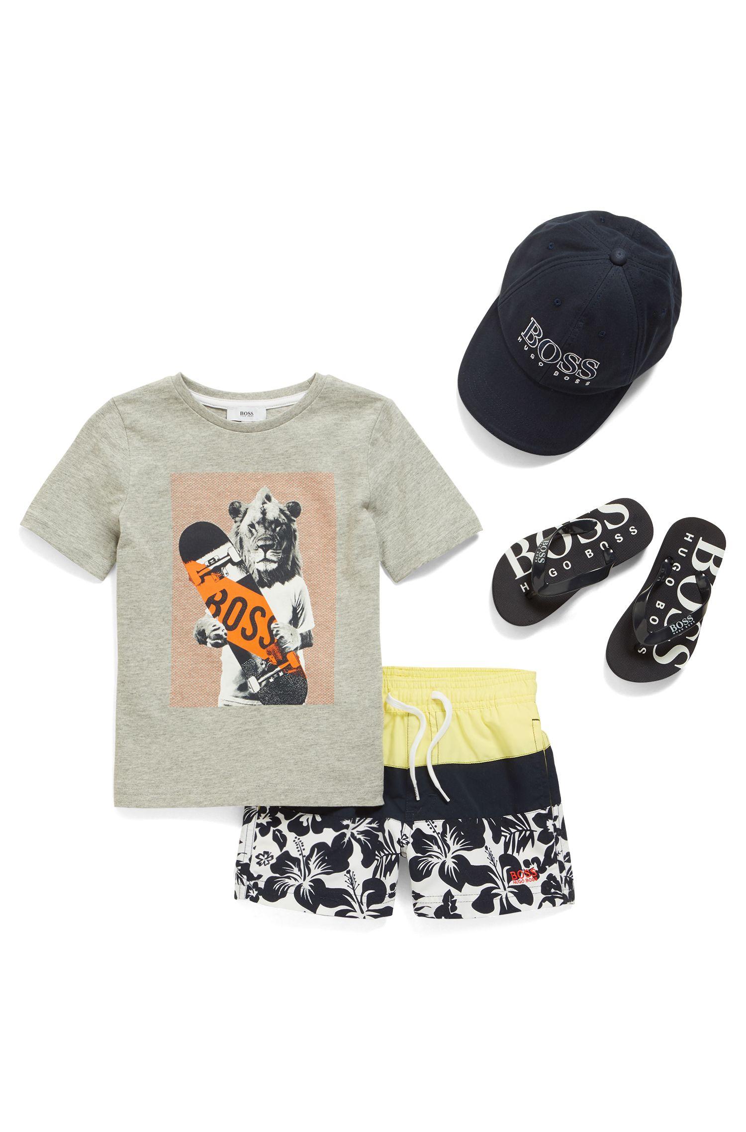Kids-Badeshorts aus schnell trocknendem Material-Mix mit Hibiskus-Print, Gemustert