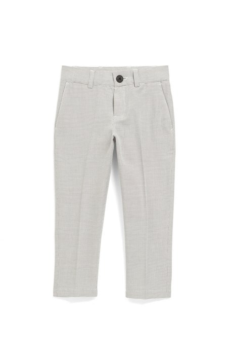 Kids' slim-fit trousers in two-tone dobby cotton, Patterned