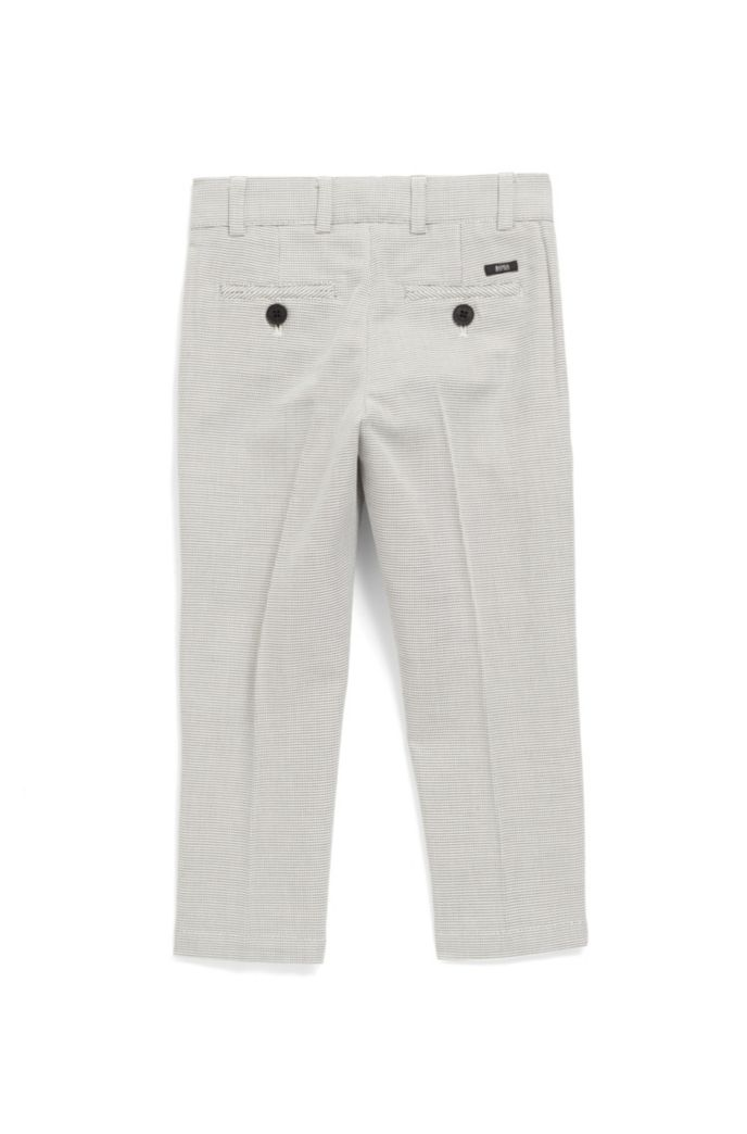 Kids' slim-fit trousers in two-tone dobby cotton