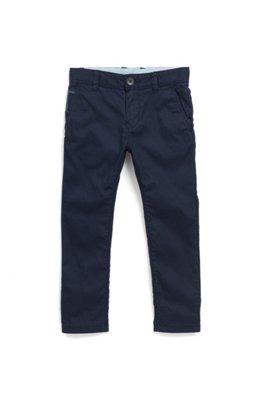 Chino pour enfant en tissu bicolore à l'intérieur de la taille, Bleu foncé