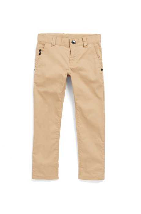 Pantalon Slim Fit pour enfant en twill de coton stretch, Beige