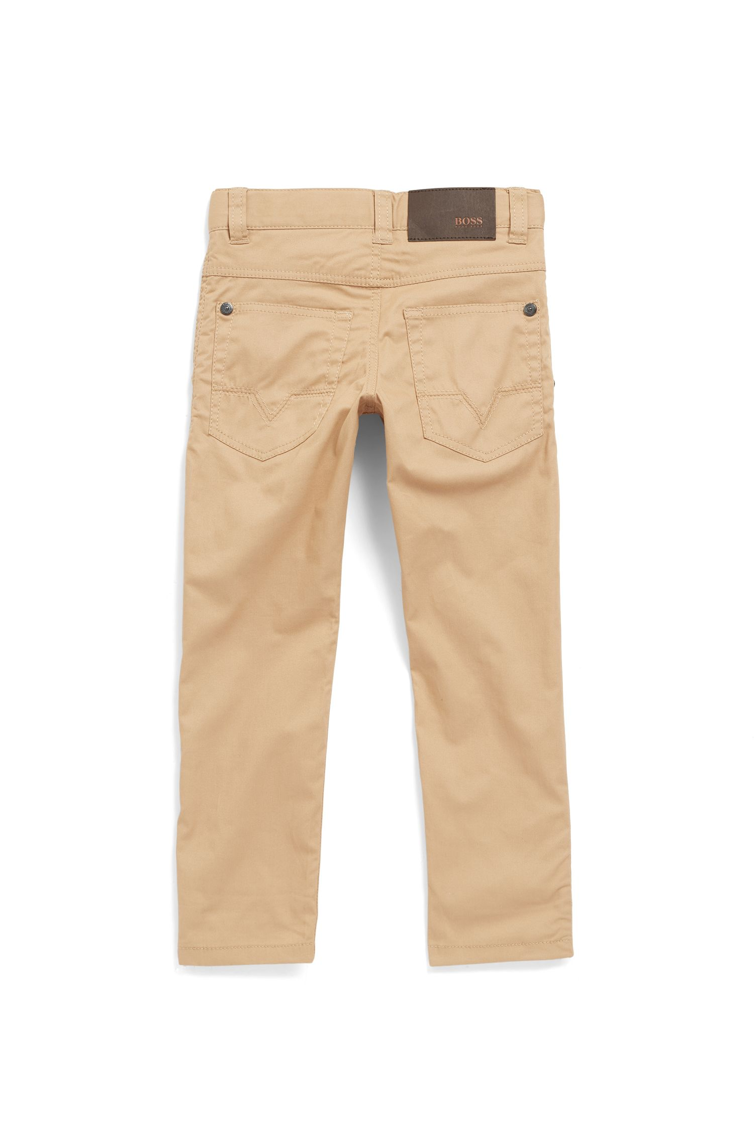 Kids' slim-fit trousers in stretch-cotton twill, Beige