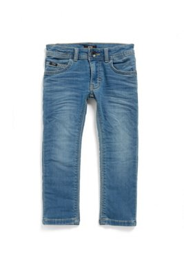 Kids' skinny-fit jeans in double-stonewashed blue denim, Blue