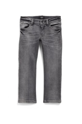 Jean Slim Fit pur enfant en denim stretch gris, Noir