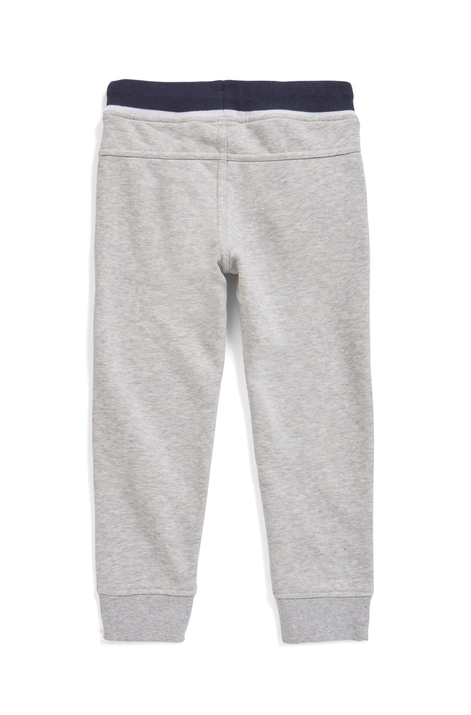 Pantalon d'intérieur pour enfant en molleton à logo imprimé, Gris chiné