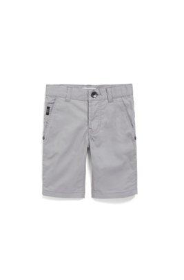 Regular-Fit Kids-Bermudas aus elastischem Baumwoll-Twill, Grau