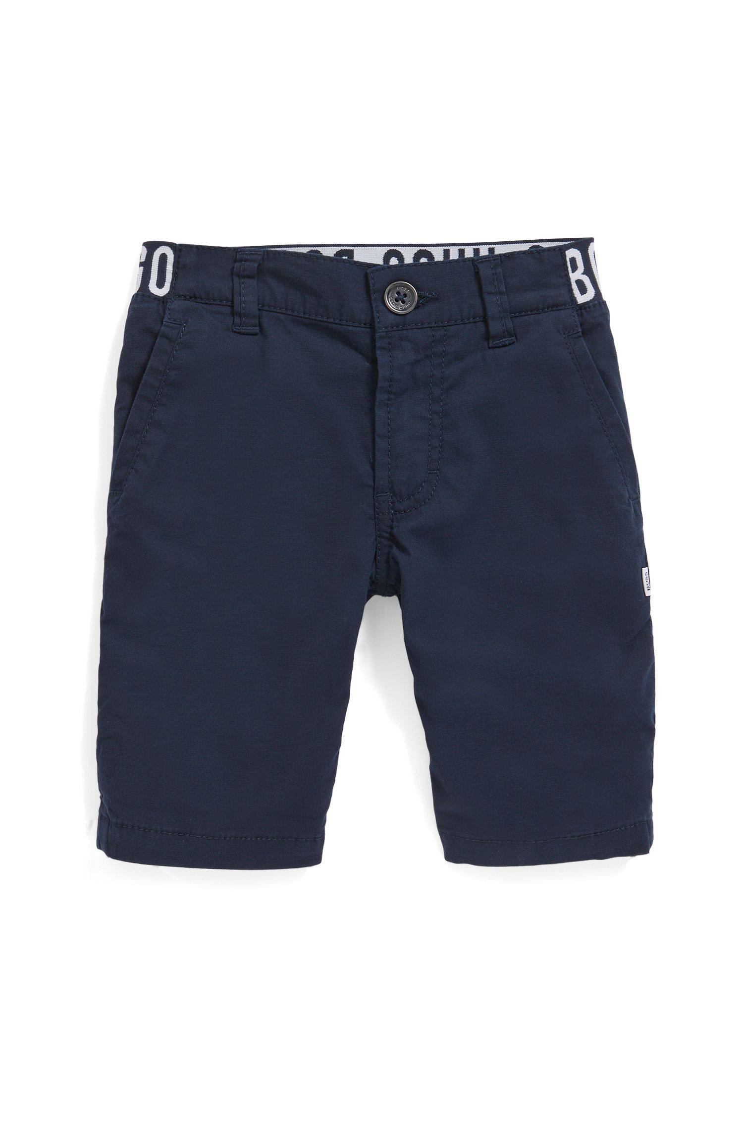 Regular-Fit Kids-Bermudas aus Stretch-Baumwolle mit Logo am Bund, Dunkelblau