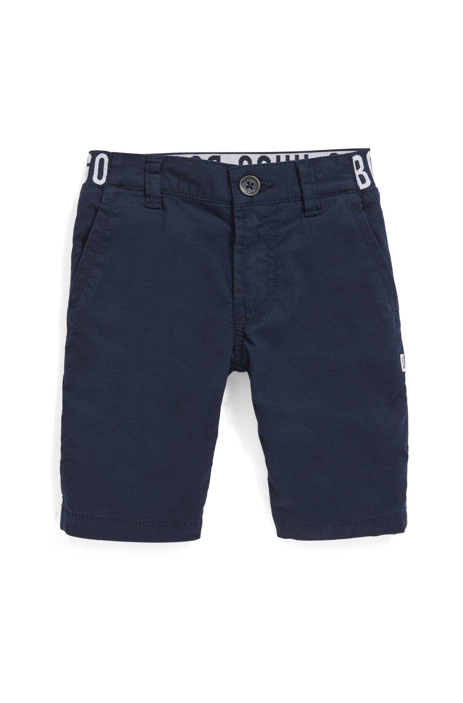 Bermudas para niños en algodón elástico con logo en la cintura, Azul oscuro