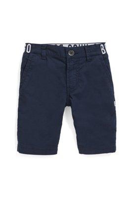 Bermuda pour enfant en coton stretch, à taille logo, Bleu foncé