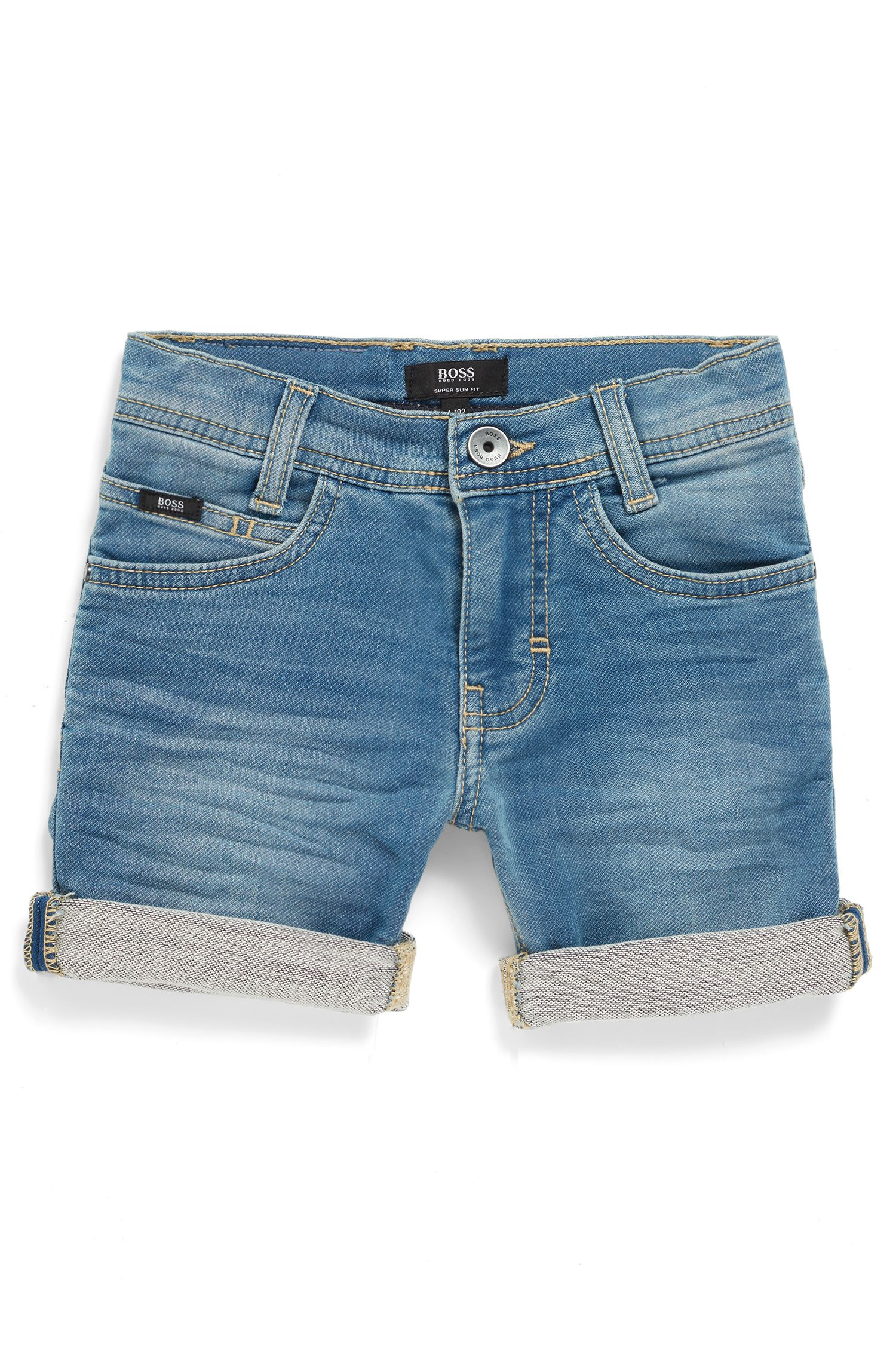 Regular-Fit Kids-Bermudas aus Stretch-Denim mit doppeltem Stone-washed-Effekt, Blau