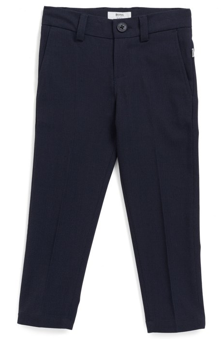Slim-Fit Kids-Hose mit zweifarbigem Fischgrät-Muster, Dunkelblau