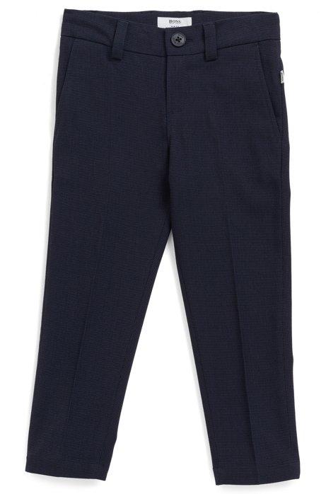 Kids' slim-fit trousers in two-tone herringbone fabric, Dark Blue