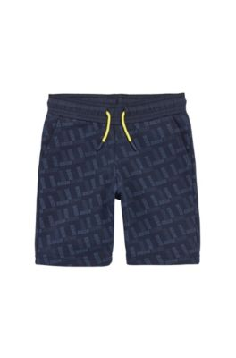 Kindershort van jersey met all-over-logoprint, Donkerblauw