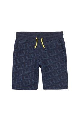 Shorts de punto para niños con logo estampado por toda la prenda, Azul oscuro