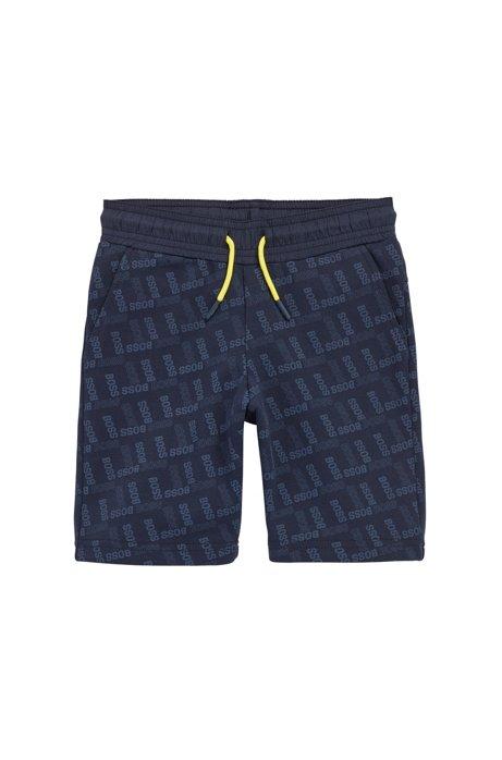 Kids-Shorts aus Jersey mit Allover-Logo-Print, Dunkelblau