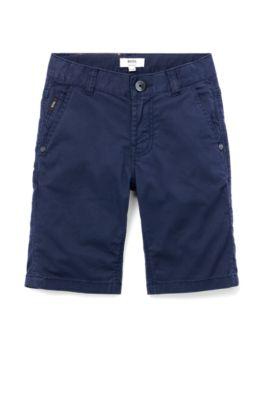 Regular-Fit Kids-Shorts aus elastischem Baumwoll-Twill, Dunkelblau