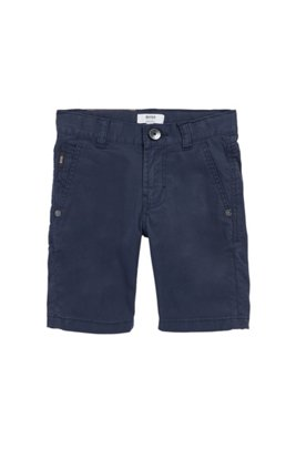 Regular-Fit Kids-Shorts aus elastischem Baumwoll-Twill, Dunkelblau