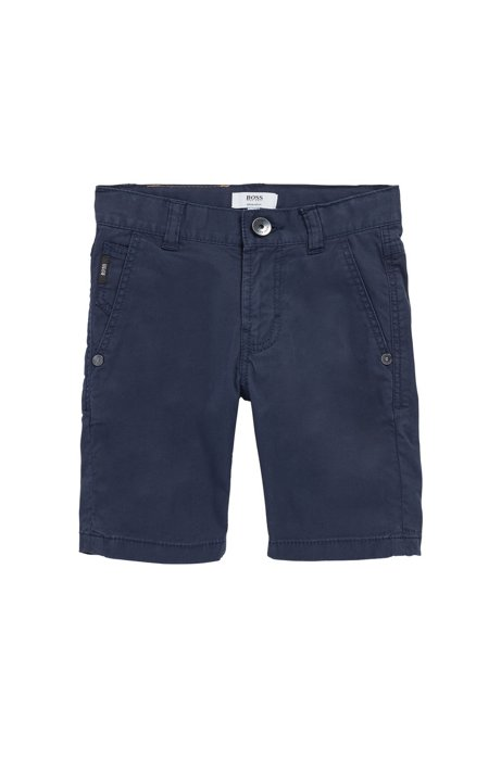 Short Regular Fit en twill de coton stretch pour enfant, Bleu foncé