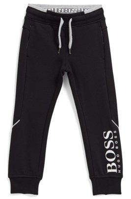 Pantalon de survêtement en molleton à logos pour enfant, Noir