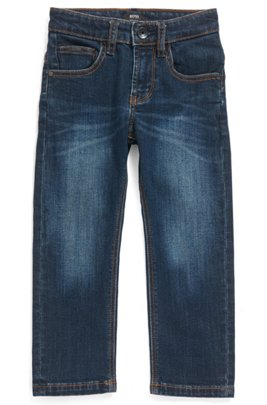 Kids' regular-fit jeans in stretch denim, Patterned