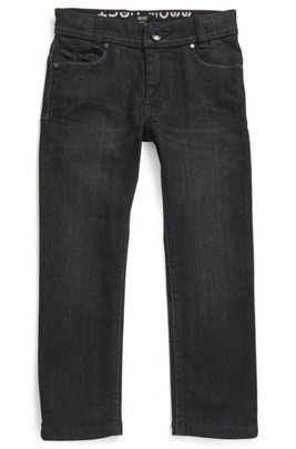 Jean Slim Fit pour enfant en denim stretch noir, Fantaisie