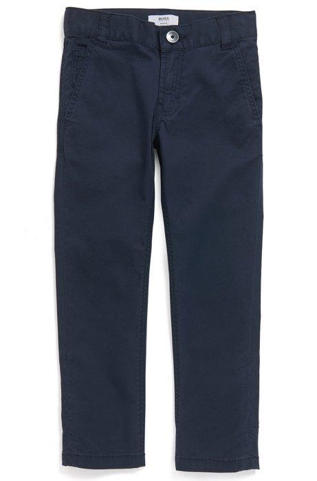 Slim-fit kinderbroek in een twill van stretchkatoen, Donkerblauw