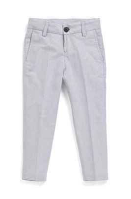 Pantalon Slim Fit pour enfant en chambray de coton stretch, Gris chiné