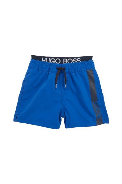 Sneldrogende kinderzwemshort met tailleband met logo, Blauw