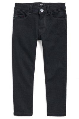 Kids' slim-fit jeans in black with logo pocket, Patterned