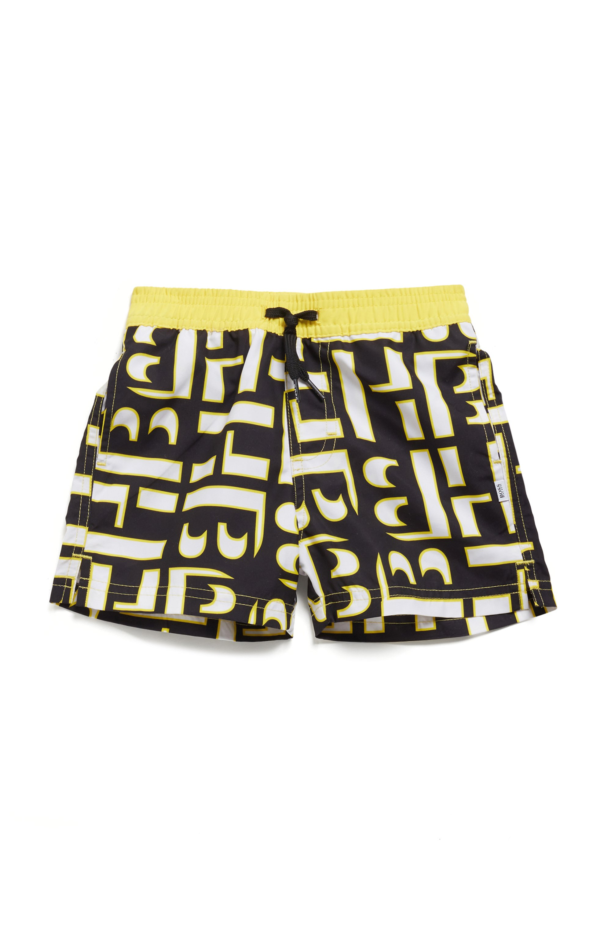 Kids' quick-drying swim shorts with monogram print, Patterned