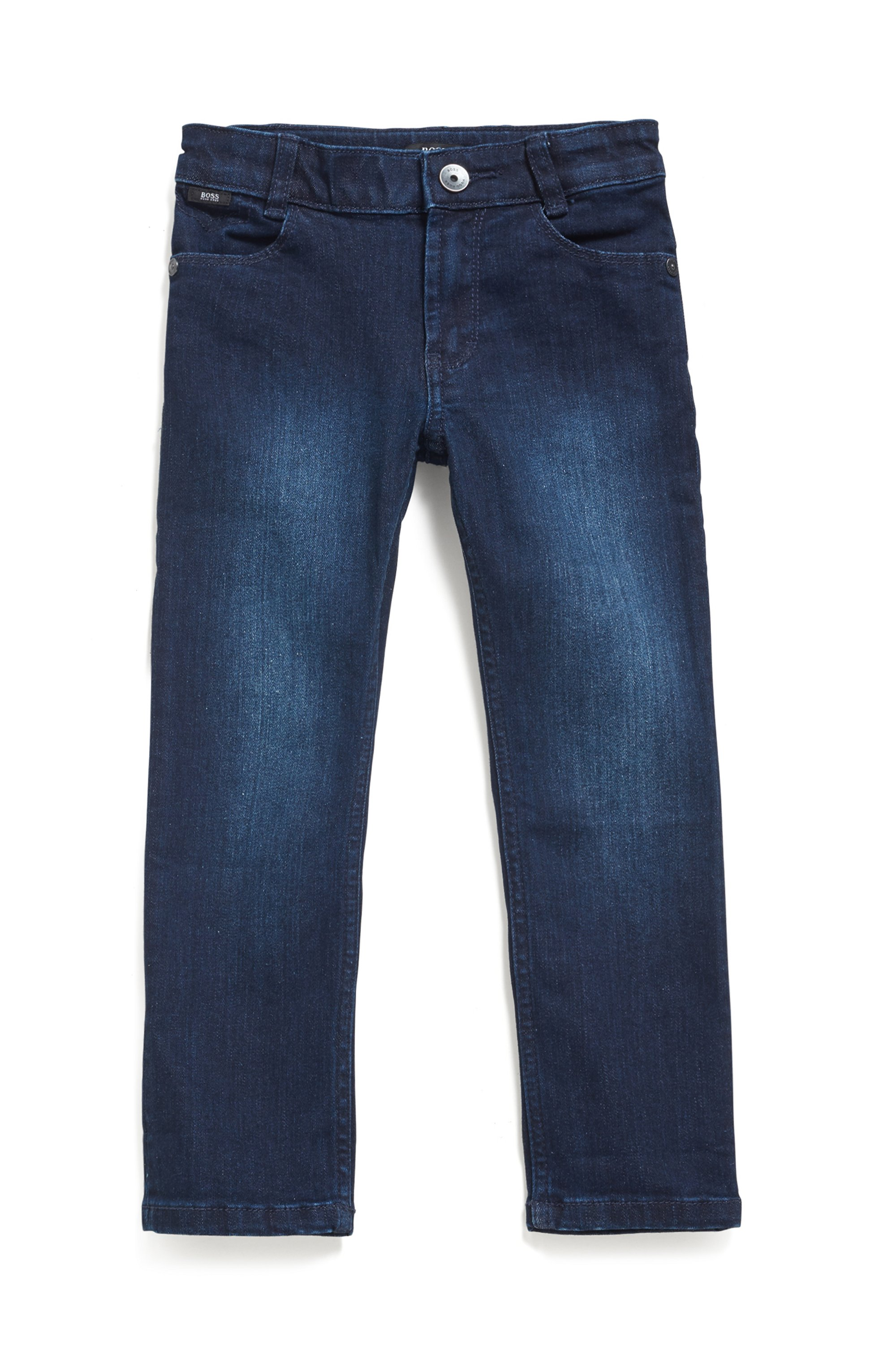 Kids' slim-fit jeans in blue stretch denim, Patterned