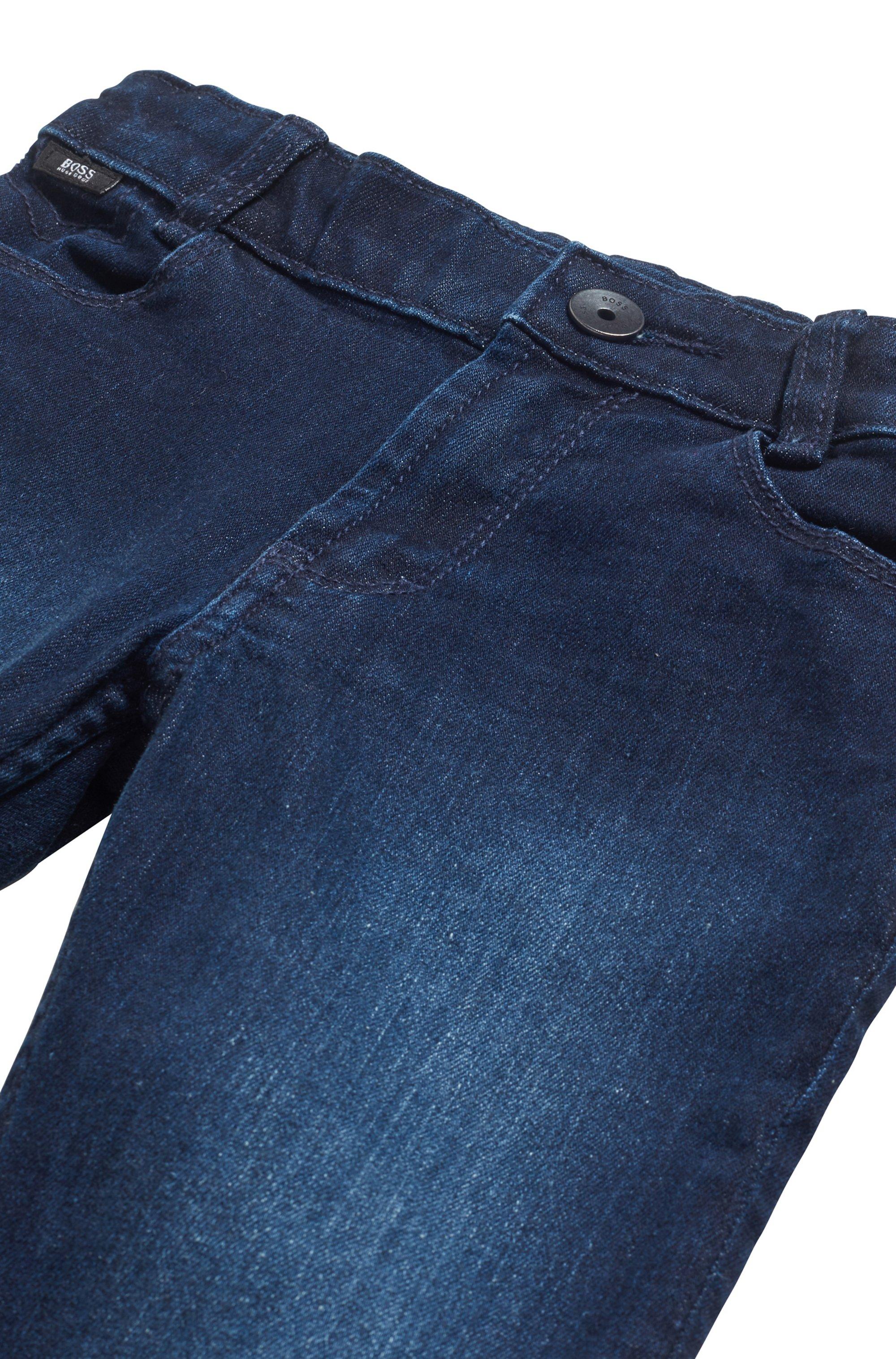 Kids' slim-fit jeans in blue stretch denim