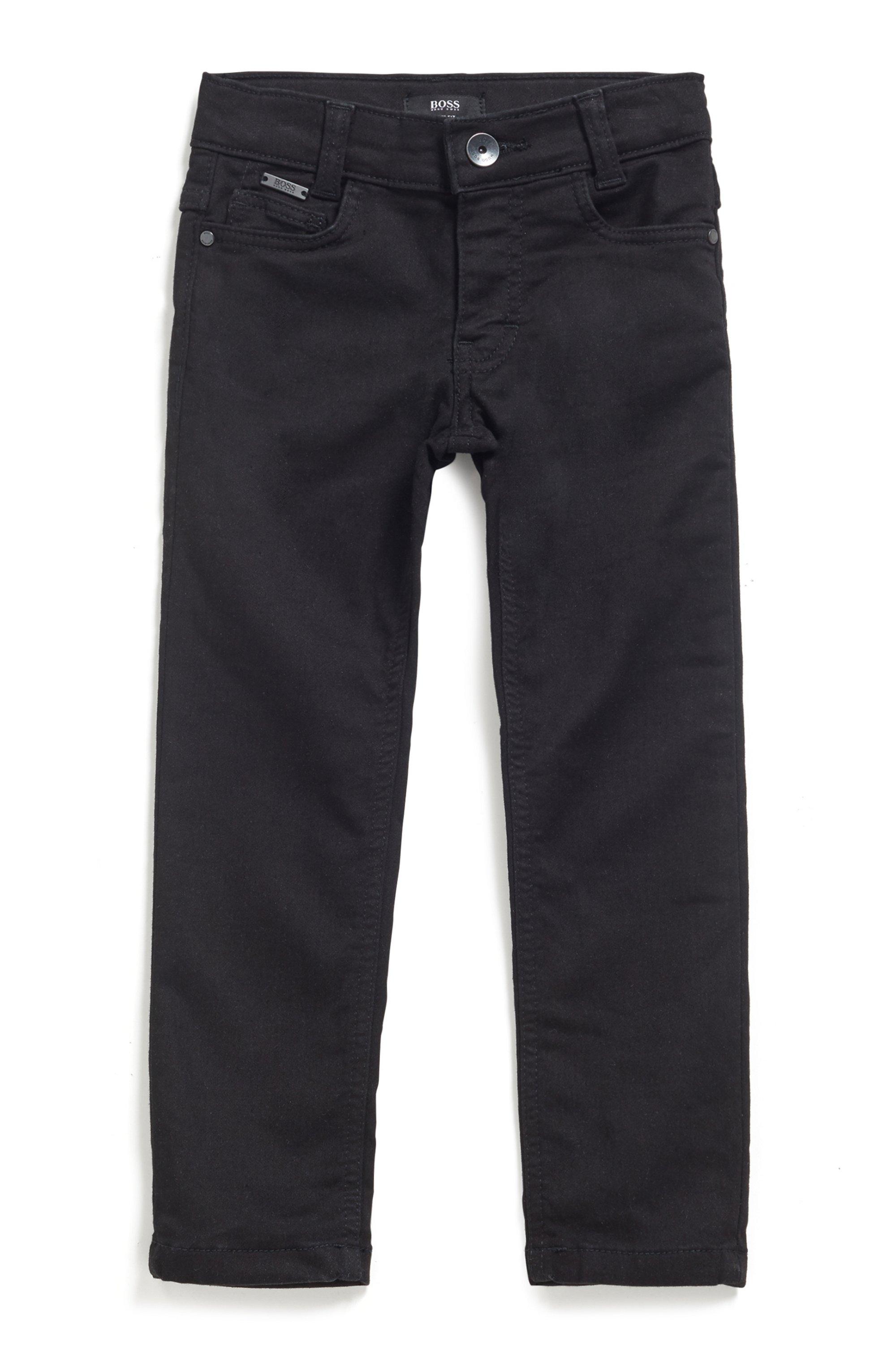 Kids' slim-fit jeans in black stretch denim, Patterned