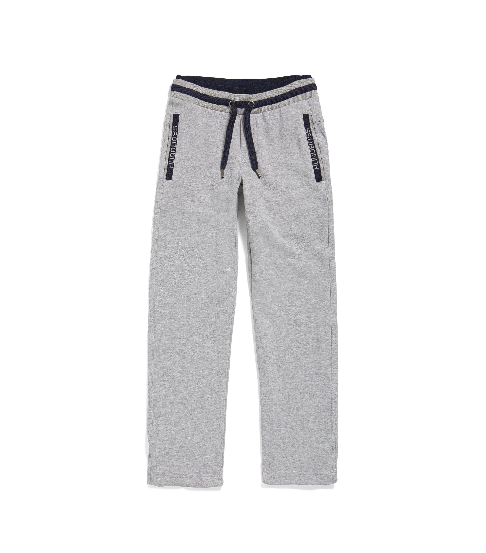 Kids' drawstring jogging bottoms in stretch cotton, Light Grey