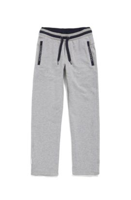 Kids' drawstring jogging bottoms in stretch cotton, Light Grey