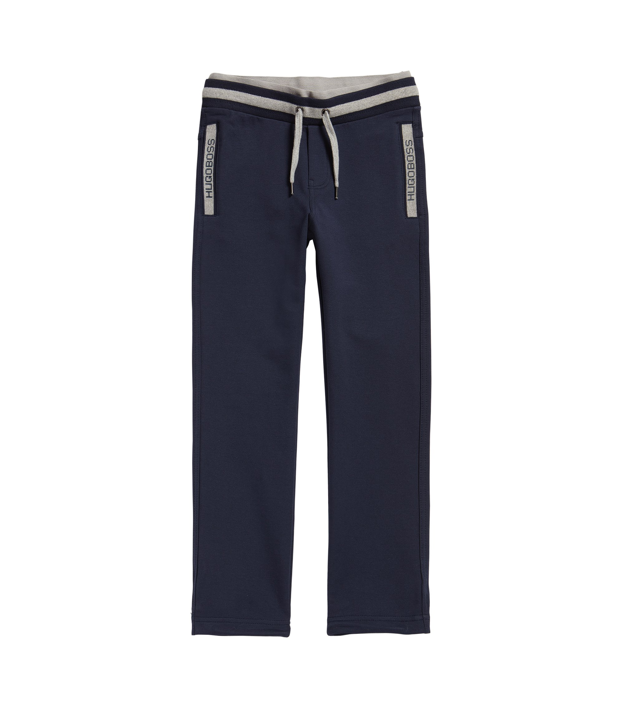 Kids' drawstring jogging bottoms in stretch cotton, Dark Blue