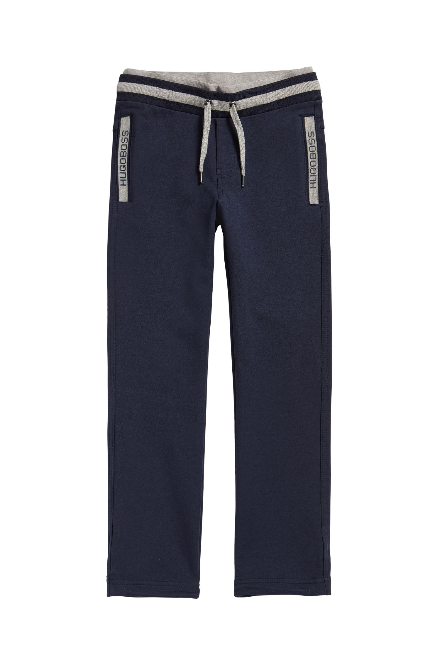 Bas de survêtement pour enfant en coton stretch, avec cordon de serrage, Bleu foncé