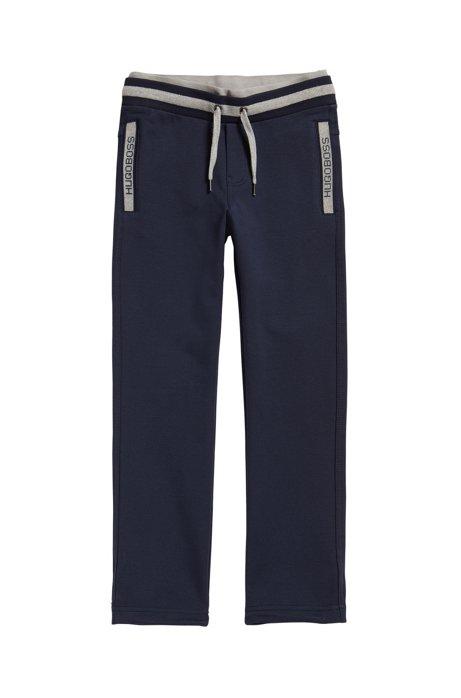 Kids' drawstring jogging bottoms in stretch cotton, Dark Blue